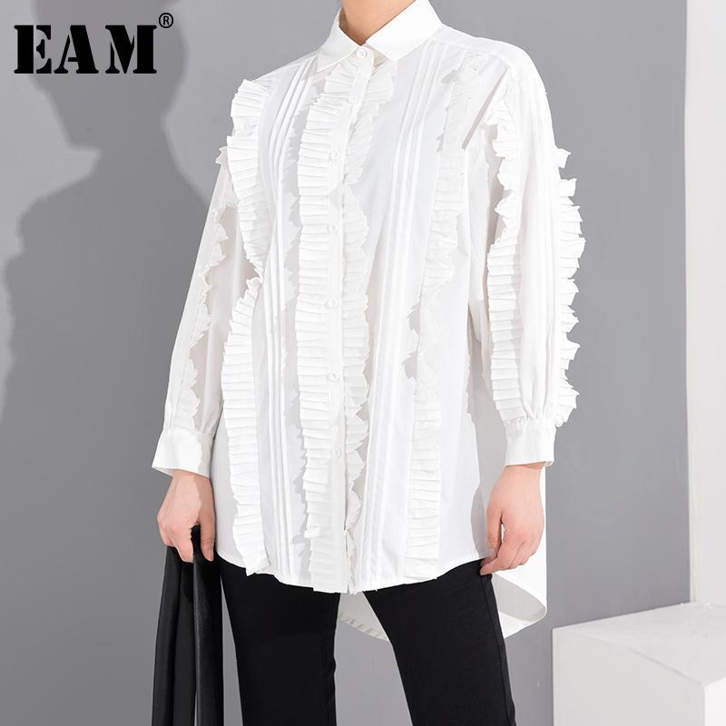 Kadın Bluzlar Gömlek [EAM] Kadınlar Beyaz Pileli Bölünmüş Büyük Boy Bluz Yaka Uzun Kollu Gevşek Fit Gömlek Moda Gelgit İlkbahar Yaz 2021 1