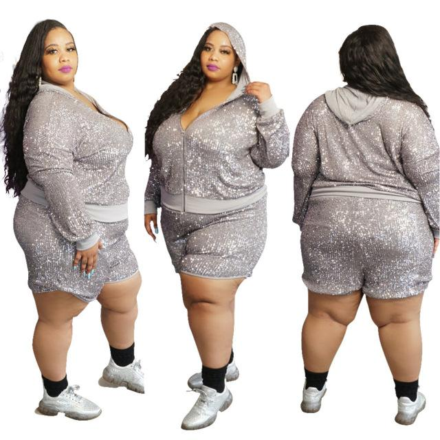 XL-5XL Plus Size Women Sequins Two Piece Set Long Sleeve Zipper Hooded Jacket Top Shorts Fashion Night Club Suit