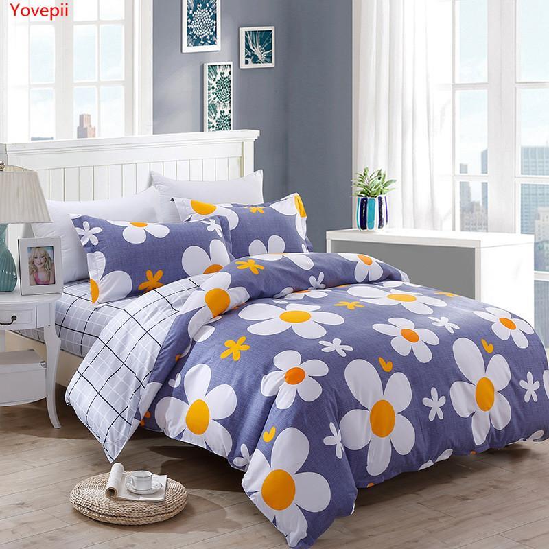 assestamento fiore Yovepii impostato 3 / 4pcs lamiera piana, copertura pillowcaseduvet impostato AB letto lato lenzuola di cotone% poliestere coperte kid 1012