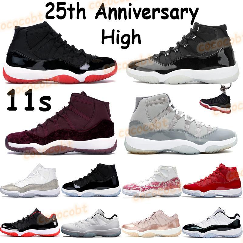 11 11s chaussures de basket-ball pour hommes 25e anniversaire de race héritière nuit marron concord 45 cool gris basse légende bleu cerise femmes baskets