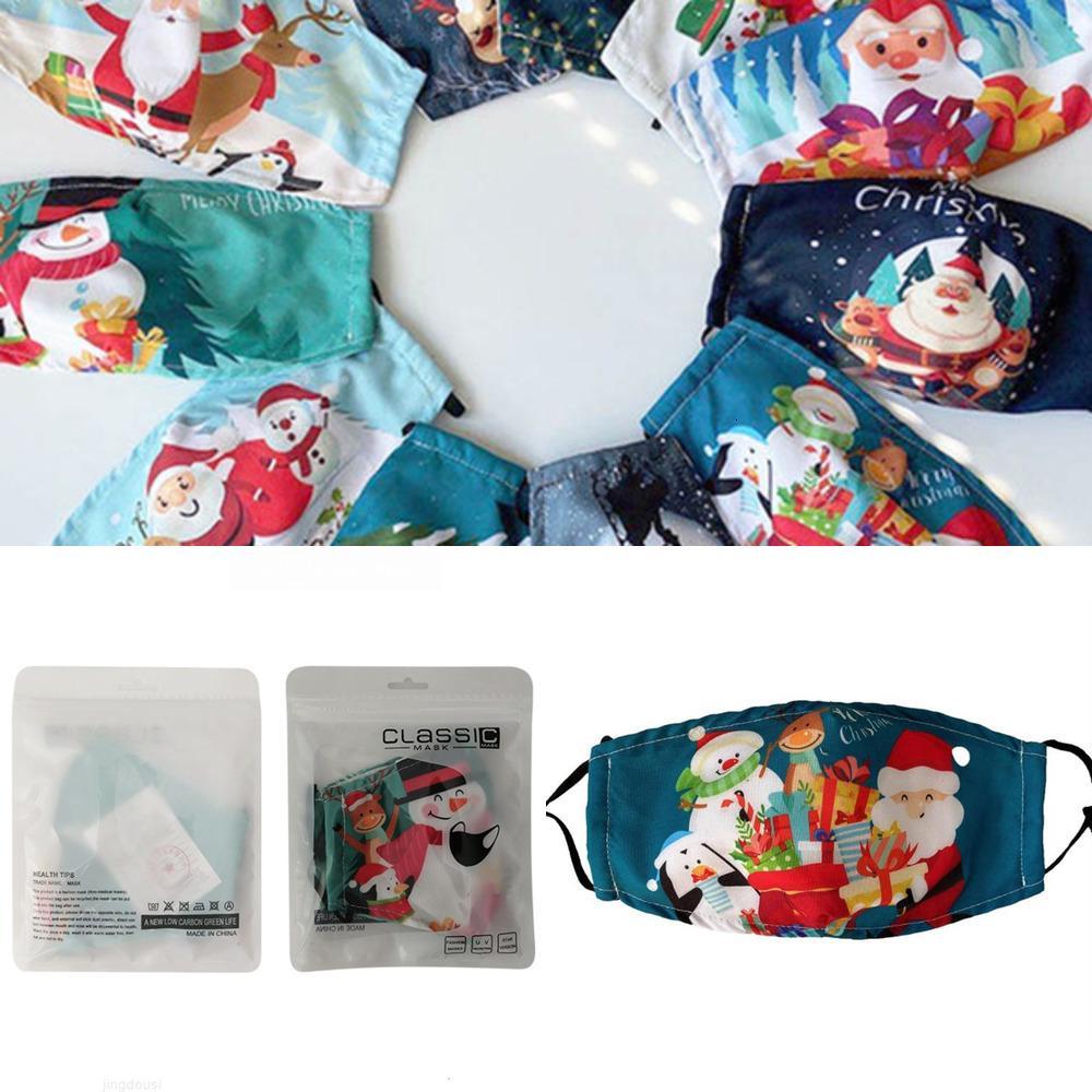 Masques de coton imprimés de Noël Hiver Chaud Spream Coton Face Masque à la mode en tissu lavable MB