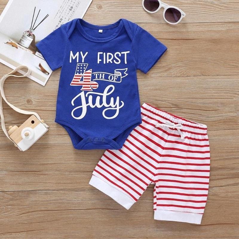 Säuglings-Kleidung 2020 der heißen Verkauf Kinder Sommerkleidung für Baby-Set 4. Juli Strampler + Gestreifte Hosen 2pcs deguisement garcon IVT3 #