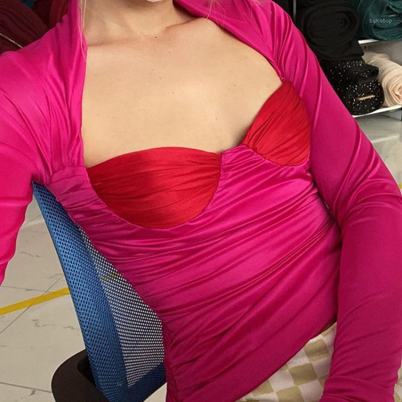Sonbahar uzun kollu alçak kesim kare boyun kadın t-shirt seksi dikiş pileli moda vintage ince tops 2020 yeni kadın bezi1