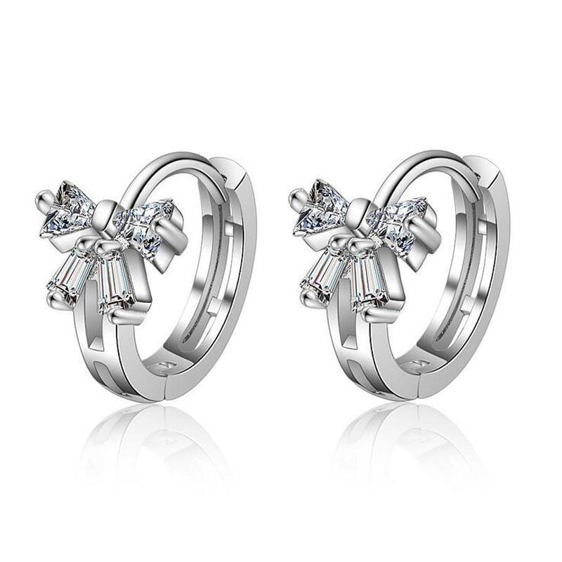 2020 New Silver Color Zircon Beautiful Bowknot Fashion Hoop Earrings For Kids Child Girls Earring Women Earring Jewelry