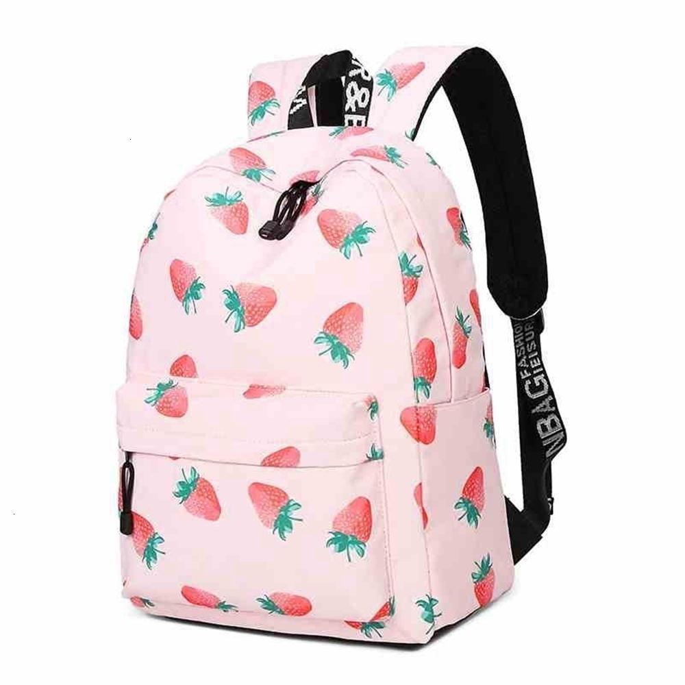Frauen wasserdichte Rucksäcke Obst Erdbeerdruck Große Schultaschen für Mädchen Tasche Rucksack Schule Rucksack