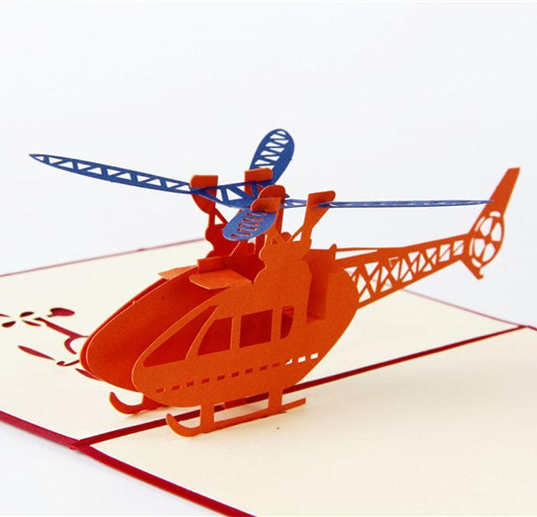 hot Handmade 3D Post Cards Airplane/Helicopter Pop up cards Custom Cubic Greeting cards Business Gifts Free shipping EEA2095