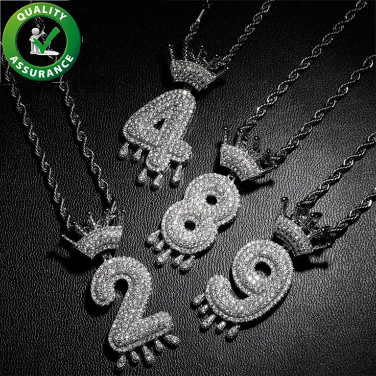 Buzlu Out kolye Hip Hop Takı Erkekler Lüks Tasarımcı kolye Mens Elmas Zincir kolye Bling Numarası Rapçi Hiphop Altın Gümüş Charms Yeni