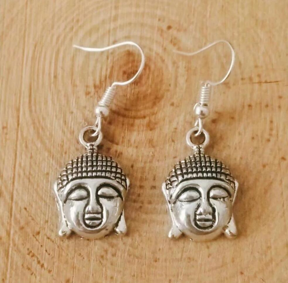 NEW fast shipping Metal Crescent Alloy Solemn and kind Buddha head Earring Friendship Charm Drape Earring DIY Women Jewelry Gifts 244