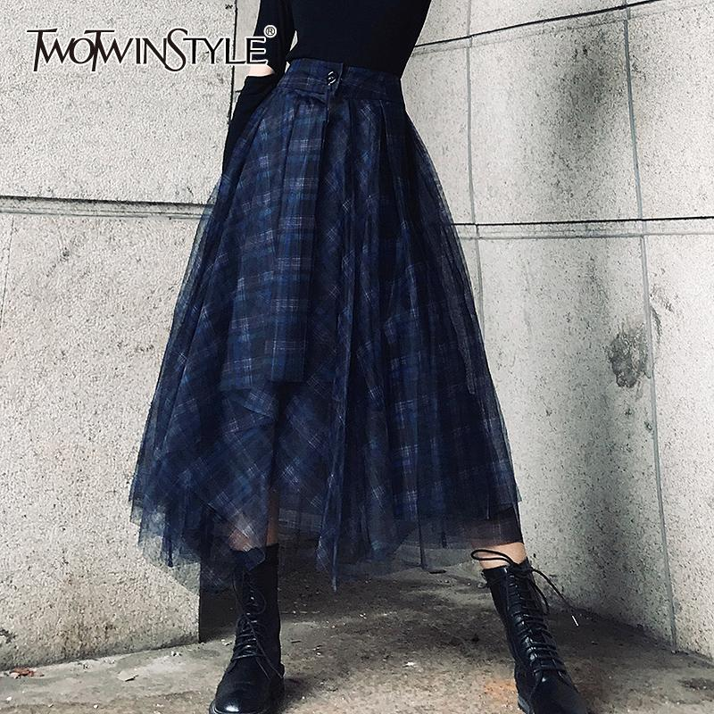 TwotwinStyle плед пэчворк сетки женские юбки высокой талией Хит цвет элегантные линии юбки женщины 2020 весна мода новый Y200704