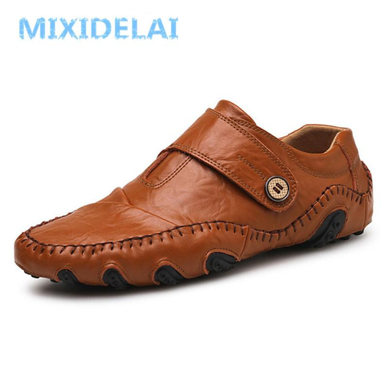 MIXIDELAI Moda İngiliz Tarzı Erkekler Nedensel Ayakkabı Hakiki Deri Erkekler Ayakkabı Üzerinde Kayma Yüksek Kalite Açık Ayakkabı Zapatos Hombre LJ201202