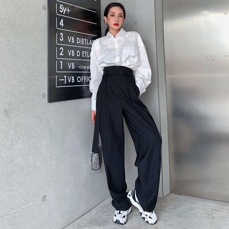 Straße Hohe Taille Breite Beinanzug Hosen für Frauen, hübsches locker, schlank, gerade und vertikal, lässiger Boden Ziehen von Hosen