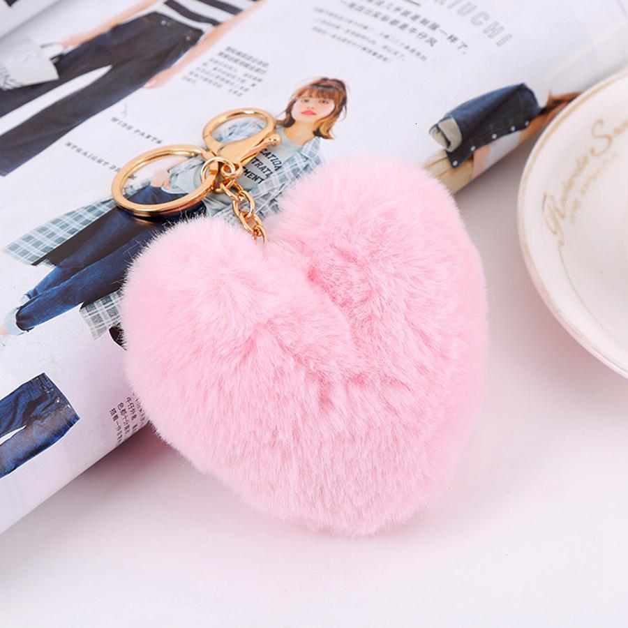 Сердце мяч POM брелок пушистый искусственный кролик мех Помпам женская сумка кулон ювелирные изделия ключей цепочки Party Hood rr5n9o