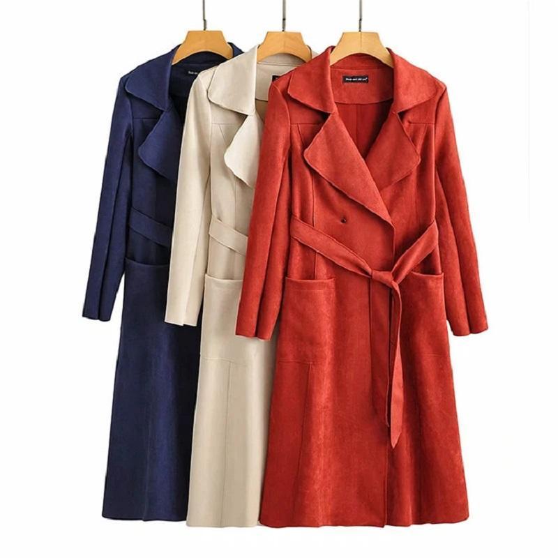 Guanta de mujer Abrigos Otoño Invierno Moda Elegante Velvet Suede High Cintura Larga Womans Ropa Cortavientos Oficina Dama