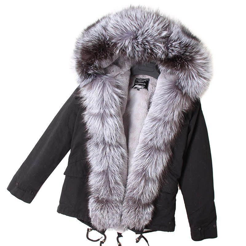 MMK gerçek kürk yeni moda Gerçek tilki kürk yaka kış kadın giyim Çıkarılabilir ceket Kısa pike ceket 201.110 kalınlaşmış