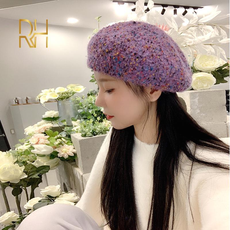 Hiver lambool Beret Polka Dot Imprimer Femme Feutre Cap Printemps Automne Hiver Chapeau Haut Solide Couleur Qualité Femmes Boina