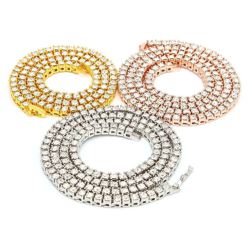 Мужские Алмазные Iced Out теннис цепи Hip Hop ожерелье ювелирных изделий серебро розового золота цепи ожерелья 3мм 4мм 5мм