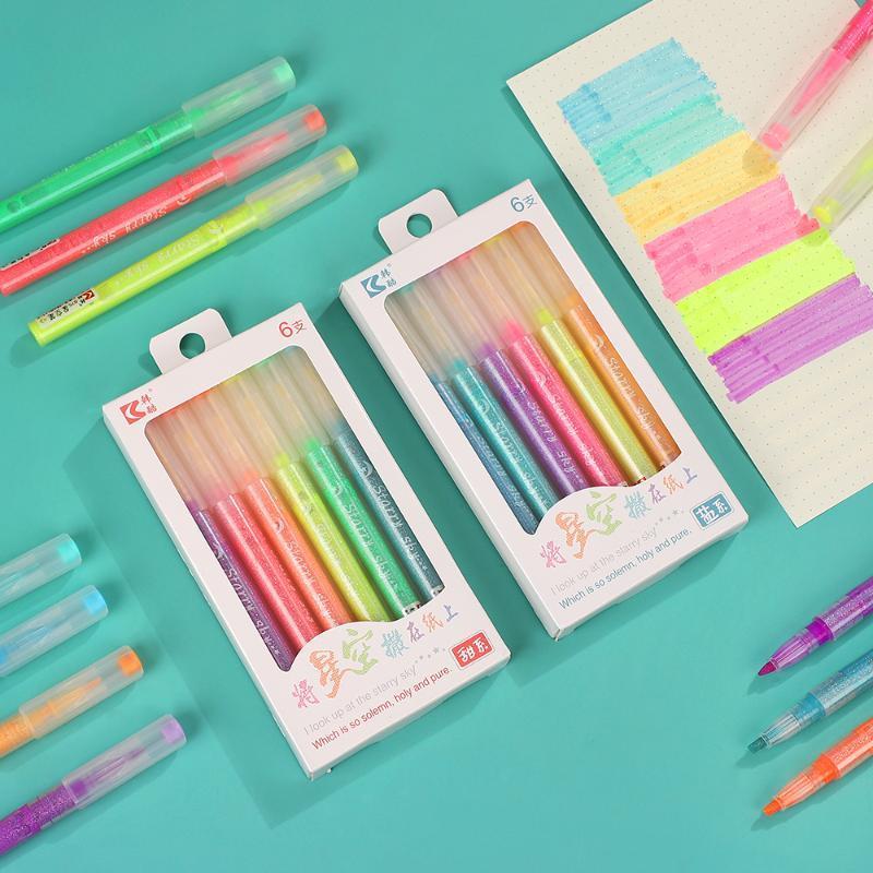 6pcs Jianwu / set criativa Colorido Starry Sky Marcador Pen Sal Series doce Kawaii marcador pena Supplies função da escola