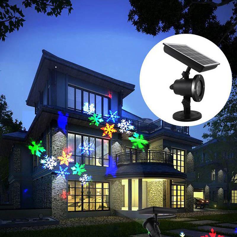 نقل ندفة الثلج ضوء العارض الشمسية بدعم led الليزر العارض ضوء ماء أضواء مرحلة عيد الميلاد في الهواء الطلق حديقة المشهد مصباح
