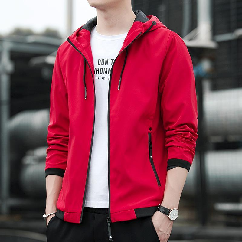 Spring and Autumn Men's Jacket Youth Korean Casual Jacket Hooded Fashion Versatile Brand Thin Men's