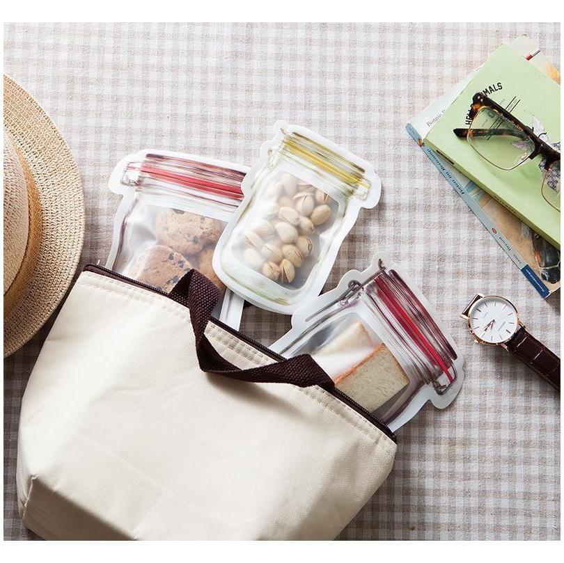 500 pcs reutilizável armazenamento de alimentos zíper sacos mason jarro forma petiscos selo de alimento salvador de alimentos com Ônibus à prova de vazamento cozinha jlllajh lajiayard