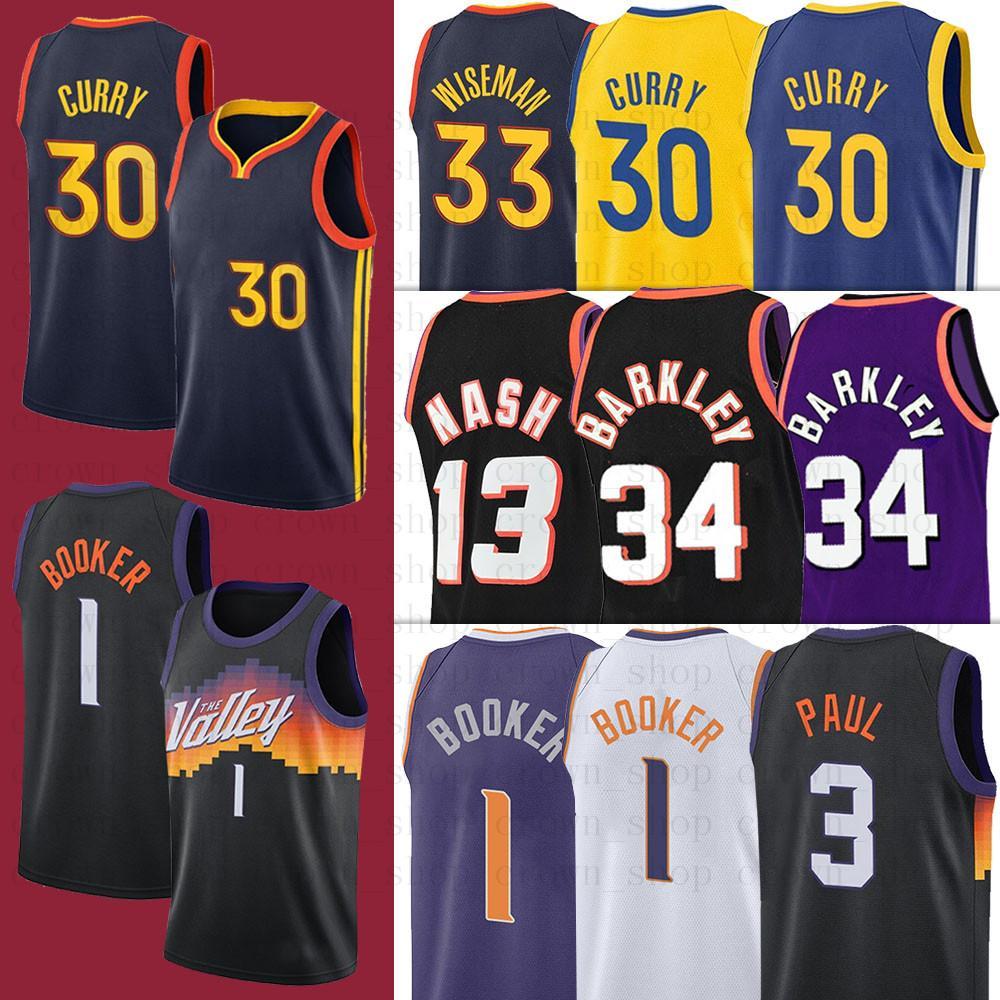 2021 Curry 30 homens Stephen Devin Chris Chris 34 Barkley Curry 1 Booker Paul 3 Wiseman 13 Nash NCAA Jerseys de basquete