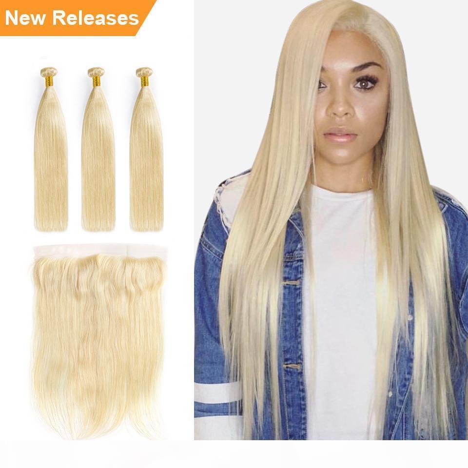 PERTAR HAAR 613 Bündel mit frontal brasilianischen geraden Haarbündeln mit Verschluss Remy Human Hair Blonde Bündel mit Frontal