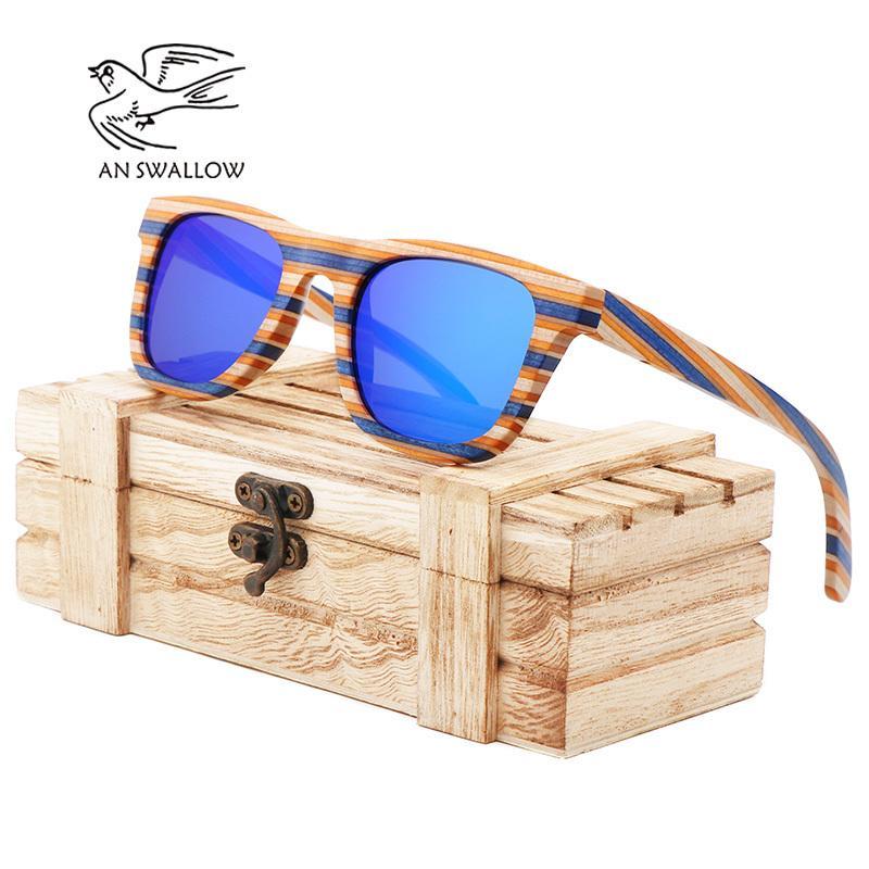 Ein Frauen Spiegel Vintage Goggle Fo Square Skateboard Bambus Swallow100% Holzsonnenbrille Polarisierte MCSQV