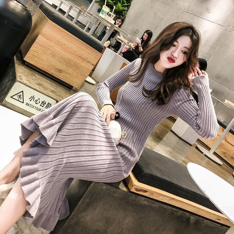2021 Yeni Kalın Örme Sonbahar Kış Bodycon Uzun Kollu Kadınlar Zarif Robe Femme Streetwear Rahat Kazak O5B8