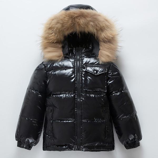 Мода зима вниз куртка для мальчиков 2-10 лет детской одежды сгущаться верхней одеждой пальто натурального меха с капюшоном Детьми пальто 0930