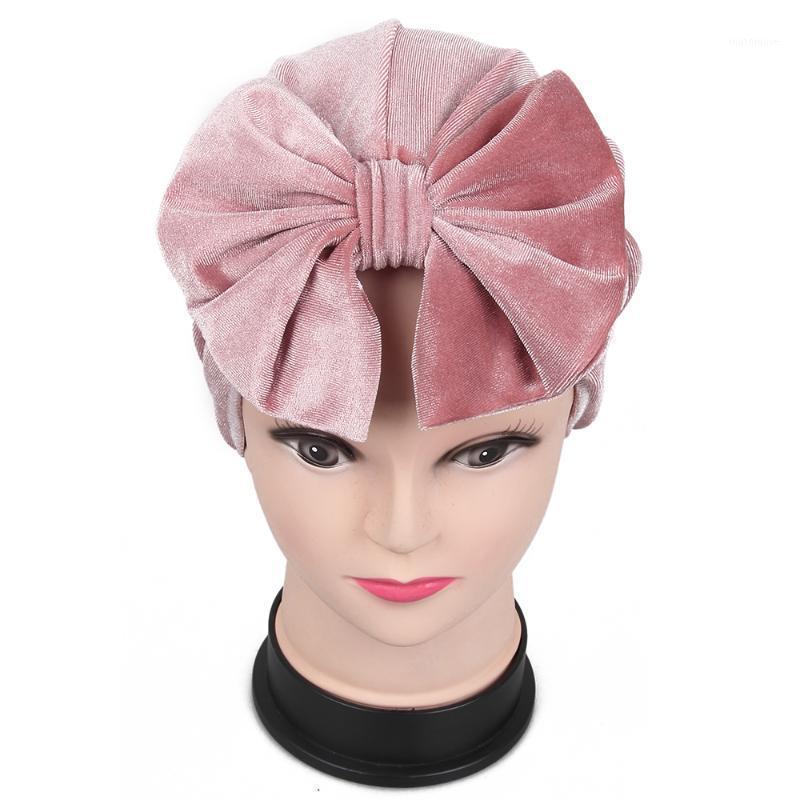 قبعة / جمجمة قبعات الثعلب foxmother 2021 عصري الشتاء الأسود الوردي القوس المخملية العمامة القبعات الكيماوي مسلم المرأة 1