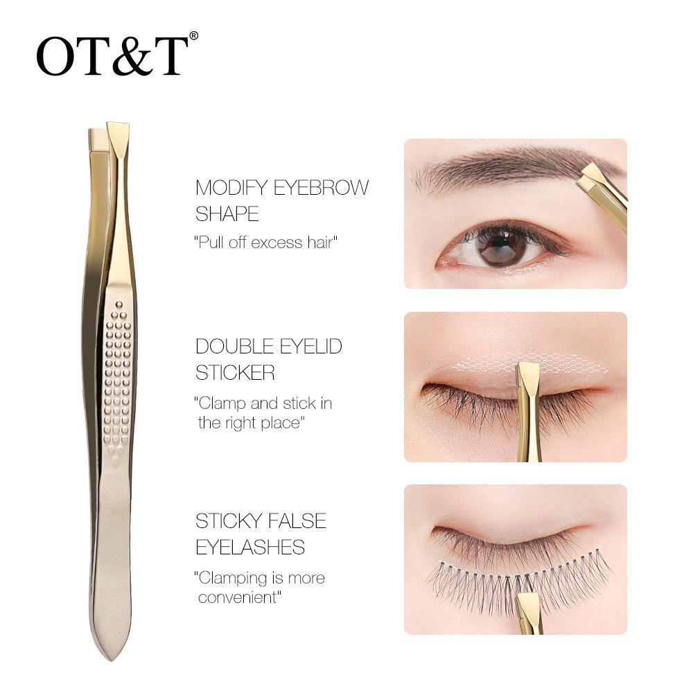 OTT Konik Hirakuchi Kaş Cımbız Saç Güzellik Eğimli Çektirme Paslanmaz Çelik Göz Kaş Klipler Epilasyon Makyaj Aracı 0295
