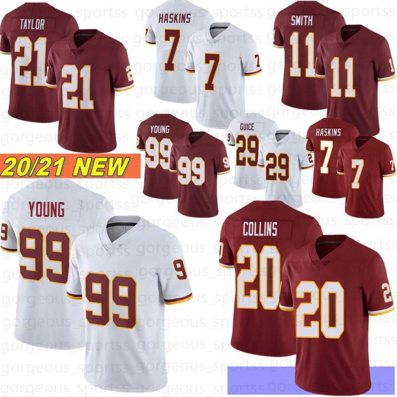 99 Chase Young Homens Futebol Jerseys 21 Sean Taylor 7 Dwayne Haskins 20 Landon Collins Stitched Jerseys Novo 2021 Camisetas de Fútbol