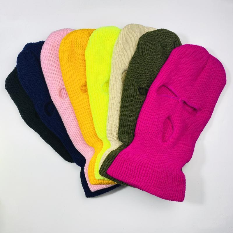 Inspired Brand Designer Luxus Neon 3 Loch Ski Maske Balaclava Modewaschbare Wiederverwendbare Gesichtsmaske Warme Wintermasken