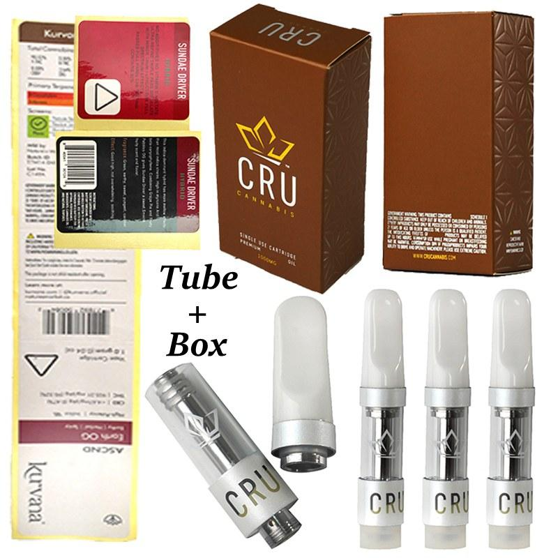 Cru 0.6ml vape 카트리지 세라믹 srew 업 오일 카트 PC 튜브 분무기 상자 포장 유리 탱크 카트리지 전자 담배 Dab vapes 펜 510 스레드 비어있는
