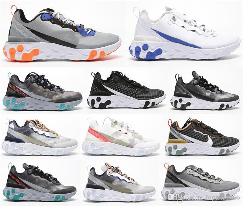 Reagire Element 87 55 designer di corsa delle donne degli uomini Airs Casual Scarpe Luce Bone 87s Triple Nero Bred team allenatori sportivi Sneaker