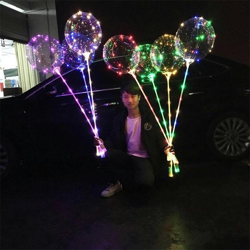 Mode Lumineszenz LED Lampe Ballon Multicolour Licht 20,5 Zoll Transparente Luftballone 70 cm Griff Pole Party Hohe Qualität 2 39JX L2