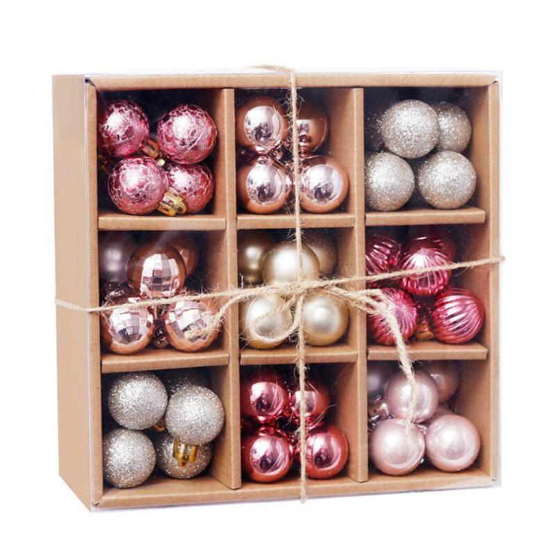 Clearance 99pcs Mini 3cm Christmas Balls Shatterproof Hanging Xmas Tree Ornaments Wedding Party Home Decoration Christmas Supplies
