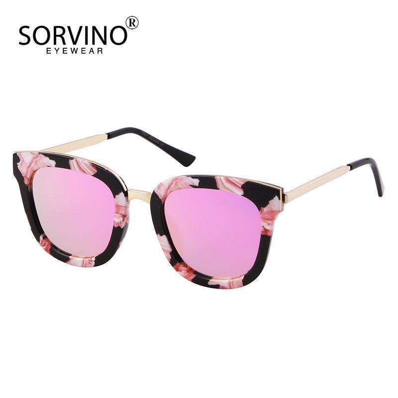 Für 2020 Sorvino Dazzling Packung Frauen Fahren Gläser Designer Retro Shades Rose Gold Blume Sonnenbrille EPDPU