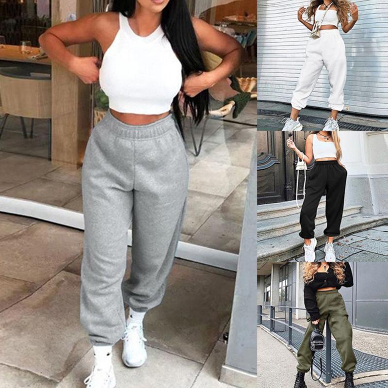 Womens Joggers Wide Gamba Gamba Pantaloni da donna Pantaloni da donna Plus Size Pantaloni a vita alta Streetwear Coreano Casual Pant Femme Caduta
