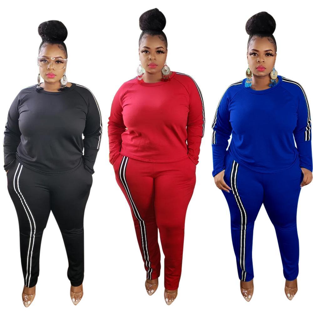 Günlük Kadınlar Katı Sportwear Tracksuits 2020 Sonbahar Yeni Lady Büyük Boyut O-boyun Tam Kol Kazak BODYCON Pantolon İki Parça Setler