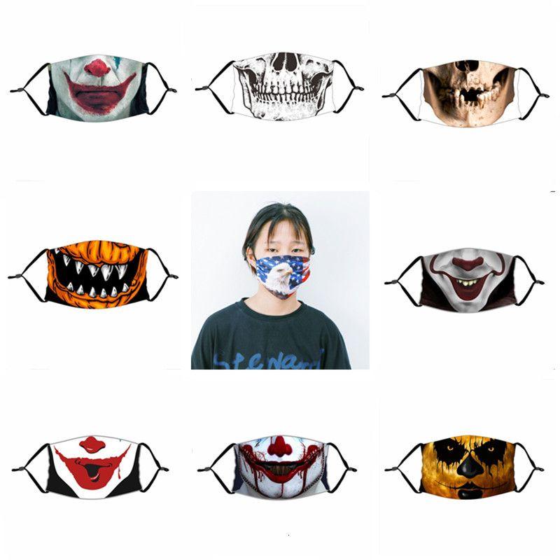 Cara divertida de Halloween máscara de calabaza Cráneo del payaso Imprimir Máscaras niños adutls Cara a prueba de polvo anti-vaho de la mascarilla con filtro PM 2.5 Máscaras lavables