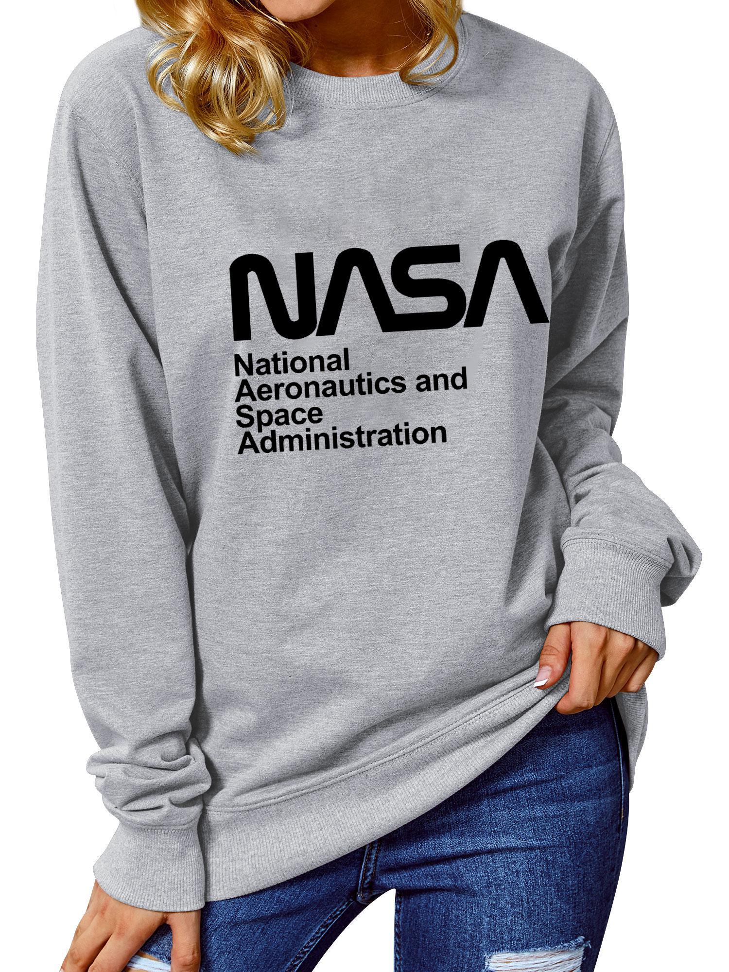 NASA Definizione lettera stampata Felpe Nuovo marchio spazio personalità stile di vacanza Nasa Pullover Felpe Women Casual cotone Tops