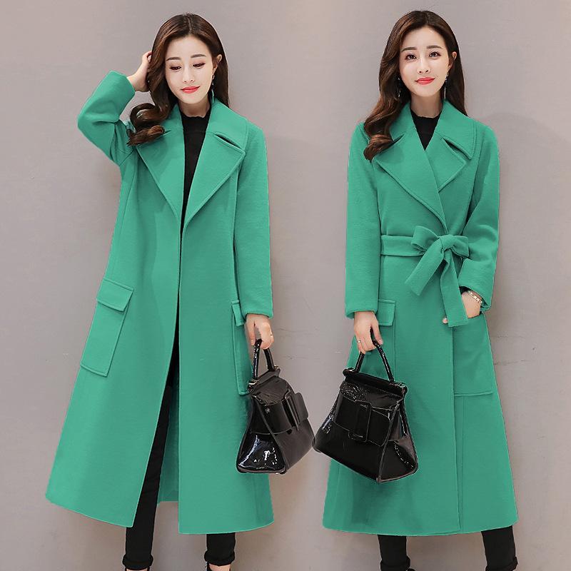 2021 Новый Корейский стиль шерсти Плюс Размер Зеленый Зимний Женщина Куртка Стильный Mujer Invierno KJ109 3A9P