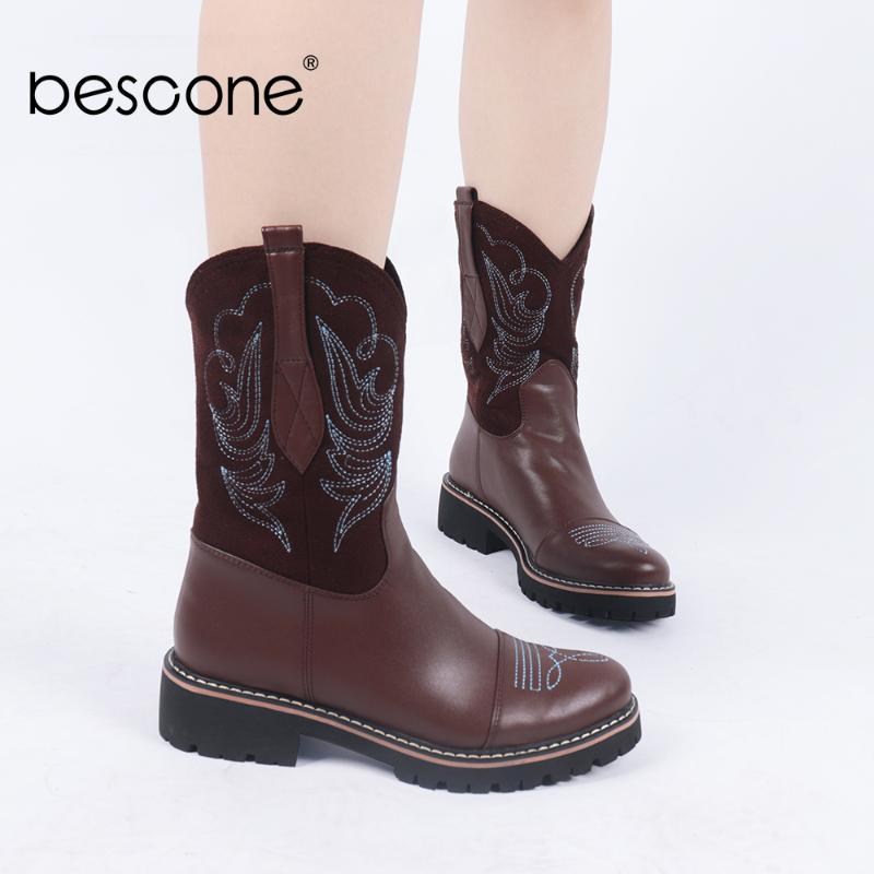 Bescone Boots Женщины Круглый Toe вышивают голенищем Плоский Western Mid-теленок сапоги для зимней BC784
