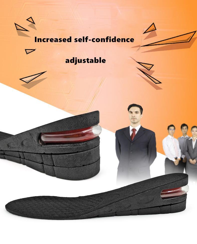 Invisible aumento de la altura de la plantilla ajustable 2 capa amortiguadora 3 cm / 4,5 cm de Air Pad Ascensor soles Plantillas insertos para zapatos