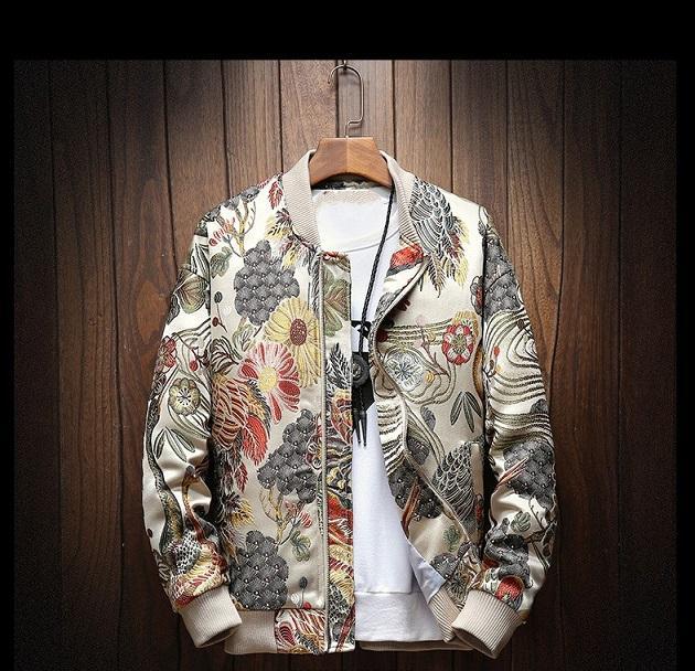 2020 Automne et hiver Nouvelle veste Hong Kong Style de style Hong Kong Broderie XL Collier de stand-up Veste Homme Graisse Hommes Hommes Tops Cross-Bordure Hommes Vêtements