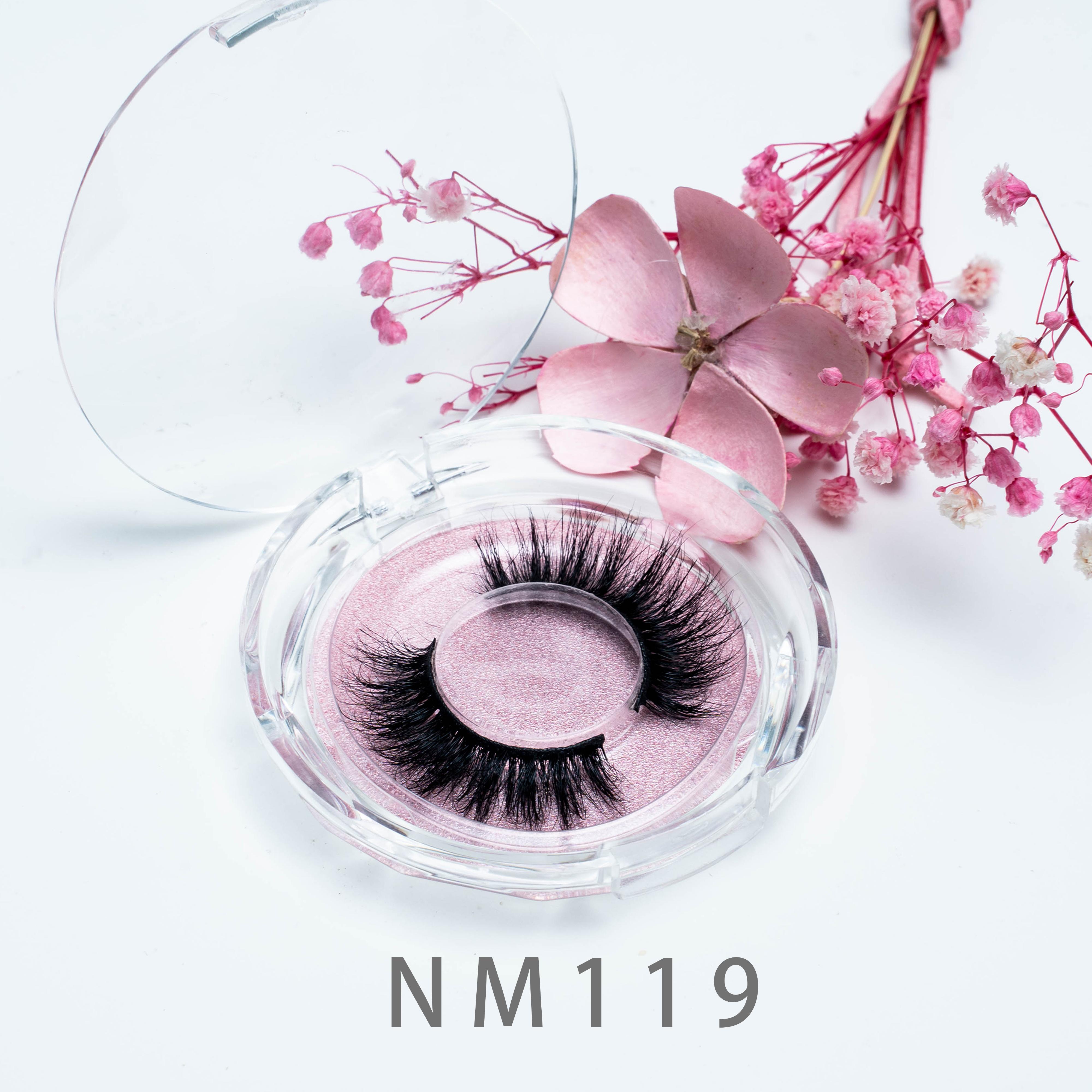 [Mink falsche Wimpern-NM119] Großhandel Wimpern 20 mm False Wimpern Dicke Streifen Mink Wimpern Makeup Lange Nerz Wimpern