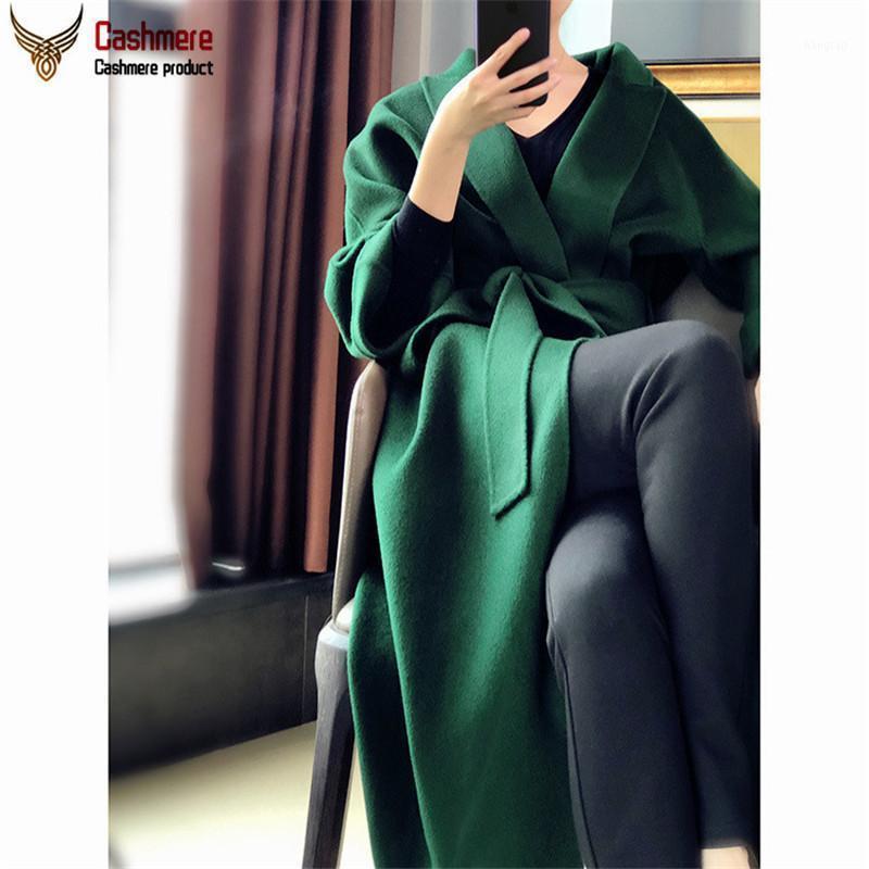 Lanas de las mujeres mezclas de gama alta de doble cara Agua de cachemira de doble cara Abrigo de ondulación Mujer 2021 Otoño invierno en la sección larga suelta lana1