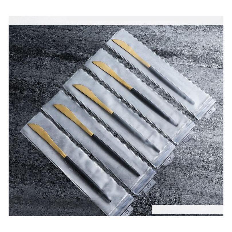 Portugal Cutelaria Faca e Forquilha Colher 304 Aço Inoxidável Talheres Ocidental White Punho Golden Pointed Cauda Flatwa SQCGSW Wwphome