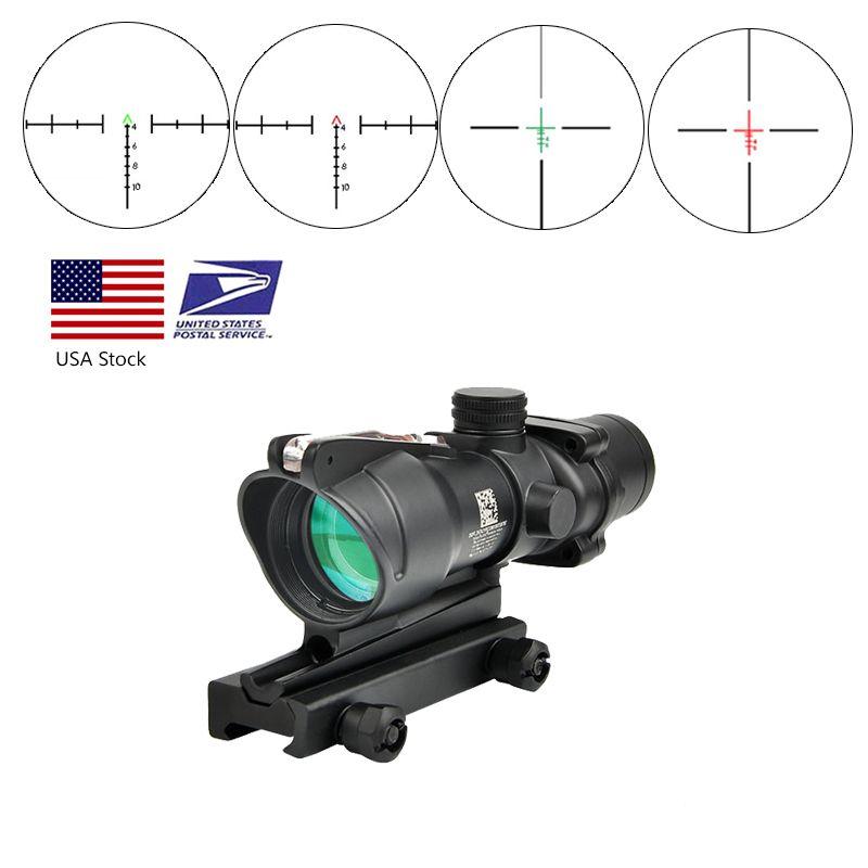 Trijicon Acog 4x32 Real Волоконно-оптика Красная точка освещенная Шеврон Стекло травленная сетчатая сетка Тактическое оптическое зрение, охота на красный взгляд